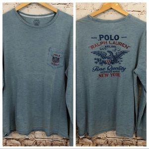 Polo Ralph Lauren Shirt Tee Indigo eagle pocket